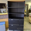 Smed Black 2 Drawer Lateral File Cabinet w/ Adj. Bookcase Top