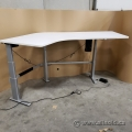 "100"" White Steelcase Powered Sit Stand Height Adjustable Desk"
