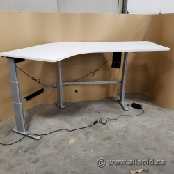 """100"""" White Steelcase Powered Sit Stand Height Adjustable Desk"""