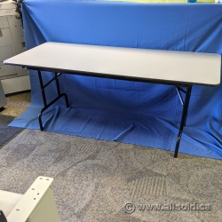 "72"" x 30"" Grey Surface Folding Training Table w/ Black Trim"