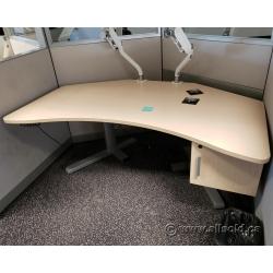 Blonde Powered Height Adjustable Sit Stand Desk