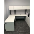 White L Suite Office Desk w/ Overhead Storage Hutch