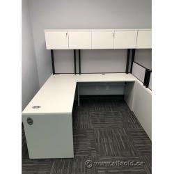 White L Suite Office Desk w/ Overhead Storage Hutch