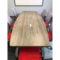 Grey Boat Shaped Boardroom Meeting Table w/ Pop Up Power Grommet