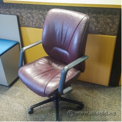 Keilhauer Respons Leather Meeting Task Chair w/ Fixed Arms
