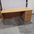 "66"" Walnut Straight Desk with 3 Drawer Storage"