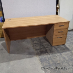 "66"" Walnut Straight Desk with 3 Drawer Storage"