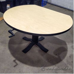 """Gunnar Blonde and Black Height Adjustable 42"""" Meeting Table"""