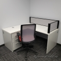 White L Suite Office Desk w/ Pedestal Storage & Desktop Privacy