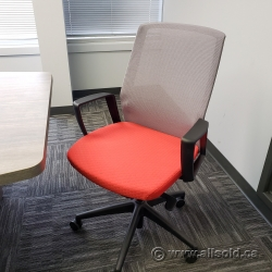 Tayco J1 Grey Mesh w/ Red Seat Office Task Chair, Fixed Arms