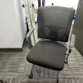 Black Mobile Rolling Guest Chair w/ Folding Seat