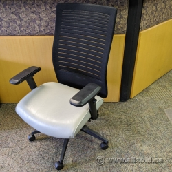 Tan Seat Black Mesh Adjustable Task Chair