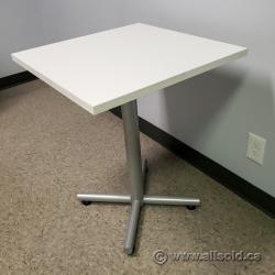 "24"" White Square Table w/ Silver Base"