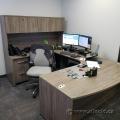Grey Dual Pedestal Executive U / C Suite Office Desk w/ Overhead