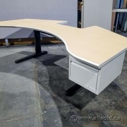 "81"" Powered Sit Stand Desk w/ Box Drawer Storage"