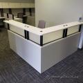 White L-Suite Reception Desk w/ Transaction Counter & Storage