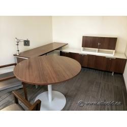 Teknion Maple White Suite Workstation w/ Table - Storage Cabinet
