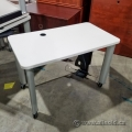 Steelcase 42x24 in Rolling Training Table, w/CPU holder Pewter
