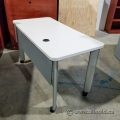 Steelcase 48x24 in. Rolling Training Table, w/ CPU Holder Pewter