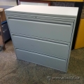 "42"" Haworth Grey 3 Drawer Lateral File Cabinet w/ Off-White Top"