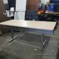 Steelcase Blonde Folding Table w/ Privacy Screen