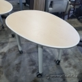 """48"""" Blonde Egg Shaped Rolling Training Table"""