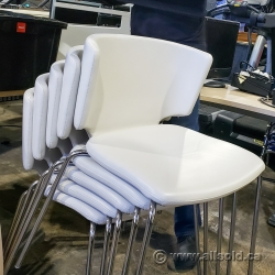 White Supple Leather Stacking Chair, Wipe-able