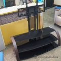 Mahogany Frame TV Stand with Black Tempered Glass Shelves