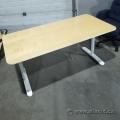 White Ikea Bekant Straight Desk Training Table w/ Blonde Top