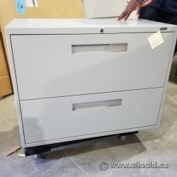 Grey 2 Drawer Lateral File Cabinet, Locking
