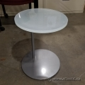 Steelcase Await Round Frosted Glass Side End Table