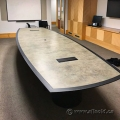 14' Grey with Black Trim Marble Style Boardroom Table w/ Power