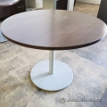 "42"" Teknion Round Table with Silver Metal Base"