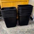 Lot of 12 Black Plastic Garbage Can Waste Basket