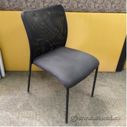 SitOnIt Black Mesh Back Office Stacking Chair w/ Grey Seat