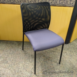 SitOnIt Black Mesh Back Office Stacking Chair w/ Blue Seat