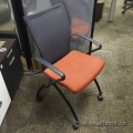 Haworth X99 Seminar Red Seat Mesh Back Nesting Guest Chair