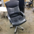 Black Leather Chrome Accent Office Task Chair