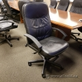Black Leather Office Task Chair with Fixed Arms
