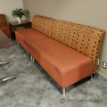 Orange Reception Sofa Bench with Patterned Back