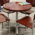 Cherry Round Office Table with Grey Base, 30""