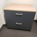"30"" Artopex Grey 2 Drawer Lateral File Cabinet w/ Light Tone Top"