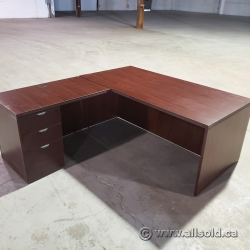 Mahogany L-Suite Desk with Overhead and Credenza