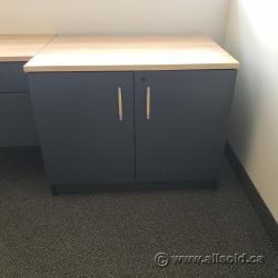 Artopex Grey 2 Door Storage Cabinet with Light Tone Top, Locking