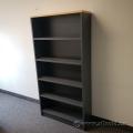 "84"" Grey Wood Bookcase w/ Blonde Top & Adjustable Shelves"