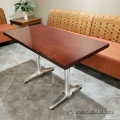 "Cherry 42"" Straight Work Training Table with Chrome Legs"