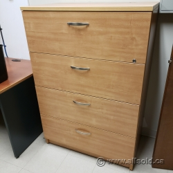Maple 4 Drawer Lateral File Cabinet, Locking
