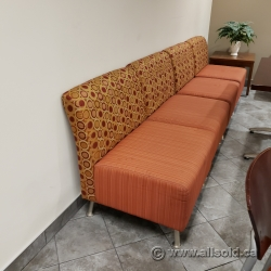 Orange Reception Guest Chair with Patterned Back