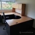 Light Tone U/C-Suite Office Desk w/ Overhead Hutch