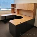 Light Tone U/C Suite Office Desk w/ Overhead & P Shape Runoff